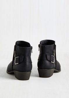 Moped, Less Problems Bootie. Geared up with these black booties from Madden Girl, you drive downtown for a carefree day of cruising. #black #modcloth