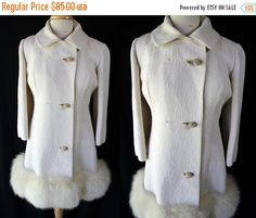 40%OFFSALE 60s Golet Mod Fur Coat White by PetticoatsPlus on Etsy