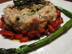 Le leccornie di Danita: Risotto agli asparagi con dadolata di peperoni e zucchinette croccanti