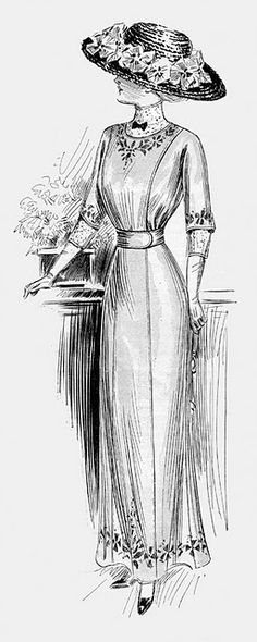 Again nothing to do with suffragettes but the style of the time. Edwardian Summer Dress 1910  simple front panel and slim silhouette