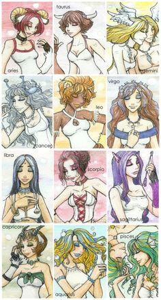 The Zodiac Girls by insomniel on DeviantArt Zodiac Art, Scorpio Zodiac, Astrology Zodiac, Taurus, Zodiac Signs, Gemini Horoscope, Zodiac Characters, Aquarius Love, Aries Facts