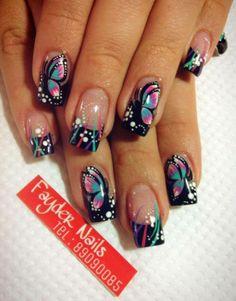 Crazy Nails, Fancy Nails, Diy Nails, Cute Nails, Pretty Nails, French Nail Designs, Toe Nail Designs, Acrylic Nail Designs, Acrylic Nails