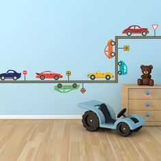 Cool Cars Wall Decals with Straight Road (Repositionable). $55.00, via Etsy.