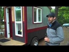"""A 60 Square Foot Tiny House/Camper/Cabin on Wheels WITH a shower, toilet - love these, would make a great village of these for homeless, a place of """"their"""" own. Tiny House Village, Tiny House Cabin, Tiny House Living, Tiny House On Wheels, Tiny Houses, Trailer Tent, Small Trailer, 6x10 Trailer, Cargo Trailer Conversion"""