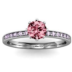 """My engagement ring, only marc had it engraved to say forever my love - engagment ring with pink and amethyst stones and engraves with """"love of my life"""" 8 Prong Solitaire Set Ring with Twin Channel Accent Rows 