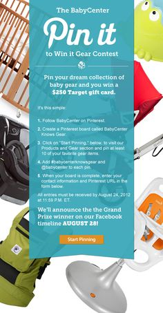 Pin your favorite gear items from the BabyCenter Products and Gear Channel for a chance to win a $250 Target gift card! #babycenterknowsgear http://www.babycenter.com/top-baby-products-and-gear