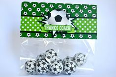 Awesome soccer party printables from Fun coach gift. Thanks coach bag topper, love those candy soccer balls! Soccer Coach Gifts, Team Gifts, Cute Gifts, Diy Gifts, Sports Snacks, Soccer Party, Soccer Ball, Small Gifts, Party Printables