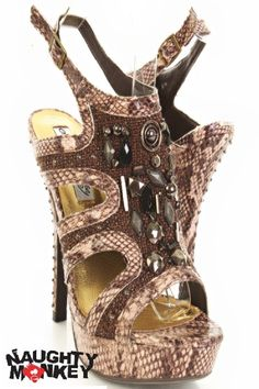These stylish heels are a must have! Featuring faux leather upper with side cut outs, threaded woven design, stone and beaded detailing, open toe, slingback ankle strap with buckle, snake skin print, smooth lining, and cushioned footbed. Approximately 5 1/2 inch heels and 1 1/2 inch platforms. 0315