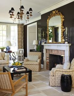 Classical Rigor with black walls, Veranda Magazine...Boxwood House, Nashville, TN