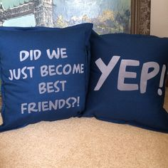 Do you wanna go do karate in the garage?!  Stepbrothers pillows - one for you and one for the bestie!