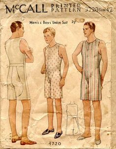 Men's and Boy's Union Suit -I found another vintage sewing pattern for men, and this one is an undergarment. This man and boy's union suit is an adorable free pattern you can make for your boys. This will be a great undergarment if you are wearing a suit.