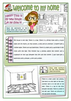 Welcome to my home worksheet - free esl printable worksheets made by teache Algebra Activities, English Activities, English Teaching Materials, Teaching English, Comprehension Activities, Reading Comprehension, Grammar Book, English Lessons For Kids, English Reading