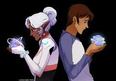 Princess Allura and Lance and their home planets of Altea and Earth from Voltron Legendary Defender
