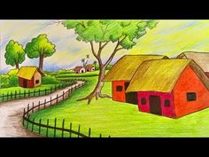 How to draw scenery/landscape step by step with color (very easy drawing) Scenery Drawing For Kids, Art Drawings For Kids, Realistic Drawings, Easy Drawings, Drawing Ideas, Landscape Drawing Easy, Landscape Steps, Nature Drawing, Drawing Sunset