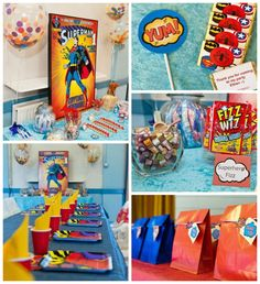 Vintage Superhero themed birthday party with Lots of Awesome Ideas via Kara's Party Ideas KarasPartyIdeas.com #superheroparty #vintagesuperh...