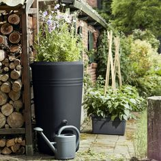 Buy Water Butt with Flower Planter — The Worm that Turned - revitalising your outdoor space Rainwater Harvesting System, Shed Decor, Rain Barrel, Water Features In The Garden, Flower Planters, Watering Can, Small Gardens, Water Garden, Garden Inspiration