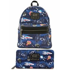 2c50575836a Star Wars Chibi Ships Loungefly Mini Backpack and Star Wars Wallet Set NEW