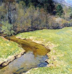"""""""The Sunny Brook, Chester, Vermont,"""" Willard Leroy Metcalf, 1923, oil on canvas, 25 3/4 x 25"""", private collection."""