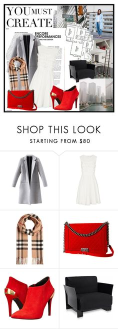 """""""Wrap up in Red"""" by twinklepink ❤ liked on Polyvore featuring Reiss, Burberry, Chanel, Love Moschino and Kartell"""