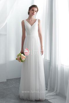 5f798e33ee6 Ivory Simple Straps V-neck Floor-length Tulle A-line Beach Wedding Dress