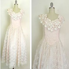 IN THE SHOP Vintage 1970s Pink/Cream Lace Victorian Prairie Maxi Dress (34/28/free). Best fits a size small $96 http://ift.tt/1lP6fC1