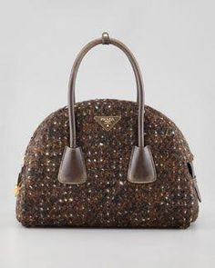 ceb6f563c3af V1P98 Prada Boucle Vintage Bowler Bag, Brown #Pradahandbags Handbags Uk,  Canvas Handbags,