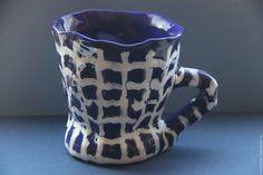 Купить Кружка Синяя Ткань в Клетку - керамика ручной работы