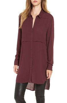 The drapey silhouette of this long, lightweight tunic pairs perfectly with the favorite skinny styles for no-fuss cool-weather dressing. Wear it buttoned up or open and layered, and roll the slouchy long sleeves to change up this versatile piece even more.