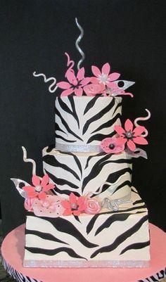zebra stripe pink flower cake