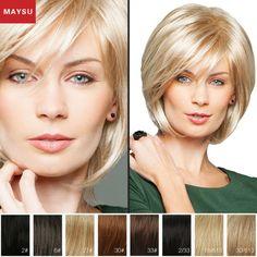 MAYSU Sophisticated Side Parting Layered Short Human Hair Wigs For Women  Brazilian Virgin Hair Blonde wig Capless Glamorous