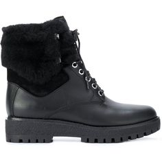 Michael Michael Kors Teddy combat boots ($320) ❤ liked on Polyvore featuring shoes, boots, black, leather combat boots, black leather boots, army boots, black leather shoes and black military boots