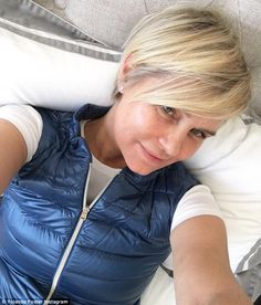 New look: Yolanda posted a selfie of her new haircut on Instagram on Wednesday
