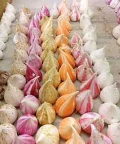 Colorful dew drop meringues at the Harvey Nichols food hall in London taken by Natanya of Austin Food Lovers