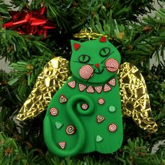 Green Angel Cat Christmas Ornament, Smiling, Handmade, Polymer Clay | MelodyODesigns -