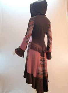 Recycled Sweater Coat in Pink, Brown & Patterned