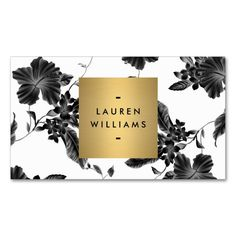 Elegant Black Floral Pattern 4 with Gold Name Logo Double-Sided Standard Business Cards (Pack Of 100). This great business card design is available for customization. All text style, colors, sizes can be modified to fit your needs. Just click the image to learn more!