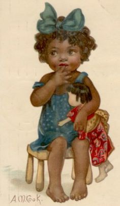 Little African American girl with a Japanese doll.