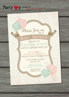 Baby Shower Invitation, Blue and Pink Flowers, Vintage, Twins, Baby Girl, Baby Boy -  Digtal File on Etsy, $11.44 AUD