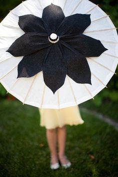 black and white parasol Folding Umbrella, Rain Umbrella, Under My Umbrella, White Umbrella, Umbrella Painting, Sun Parasol, Our Wedding, Dream Wedding, Umbrellas Parasols