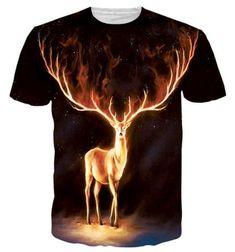587d049b4d6e Round Neck 3D Flame Elk Print Short Sleeve T-Shirt For Men Mens Printed  Shirts