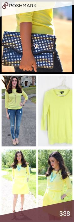 j. crew // merino wool tippi sweater • yellow The sweater you'll wear with almost everything. It's soft, flattering and layers well—so you can totally justify buying several. 100% merino wool. Three-quarter sleeves. Excellent condition, seems basically like new. Color is a light lemon yellow. J. Crew Sweaters Crew & Scoop Necks