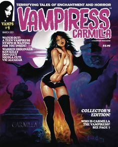 Vampiress #1 revives the iconic Warren illustrated horror magazines of the 60's and 70's by replicating Warren's early page layouts and publishing new, classic styled work by original Warren artists, writers and editors. Each issue is a highly collectible instant classic! Vampire Comic, Carmilla, Character Costumes, Geek Out, Nymph, Pop Culture, Horror, Novels