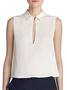 Theory Kenzly Silk Keyhole Top. Ok this is cream...but I have posted a few ivory or beige shirts....