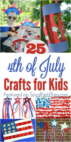 Check out these 25 4th of July Crafts for Kids!  Our fun and easy Fourth of July crafts are great to make as decorations for a party or as cute hats or wands to take with you to a 4th of July parade.  They are so easy even preschoolers and toddlers make them.