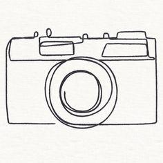 It Just Clicks Camera Camera Sketches, Camera Drawing, Camera Art, Camera Doodle, Camera Painting, Camera Logo, Minimalist Drawing, Minimalist Art, Outline Drawings