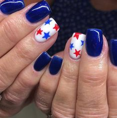 Bold Blues Bold Blues Bold Blues - Patriotic Fourth Of July Nail Designs - Photos<br> These accent nails are everything. Cute Summer Nail Designs, Cute Summer Nails, Diy Nail Designs, Beach Nail Designs, Pretty Nail Designs, Accent Nails, Nail Art Halloween, Patriotic Nails, 4th Of July Nails