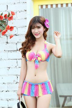 Womens Stylish Bikini Skirt Cute Swimsuit With Sarong