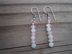 Pink and Blue Jade French Hook Earrings by tlw1212 on Etsy
