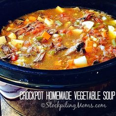 Crockpot Homemade Vegetable Soup recipe that uses leftover pot roast! This taste simply amazing and is so easy to make for a hearty dinner meal.