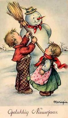 Dutch Children and Snowman ~ Christmas Vintage
